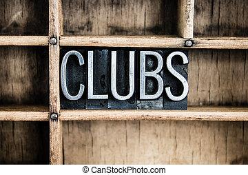 クラブ, 概念, 金属, 凸版印刷, 単語, 中に, 引き出し