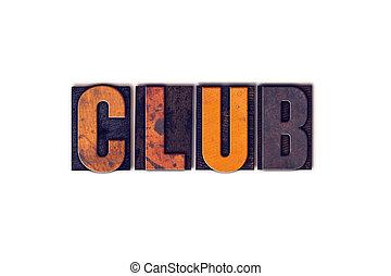 クラブ, 概念, 隔離された, 凸版印刷, タイプ