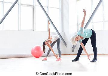 クラブ, 運動, 朗らかである, フィットネス, 活動的, 女性