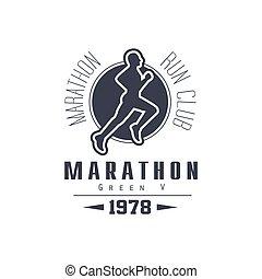 クラブ, 黒, デザイン, マラソン, ラベル