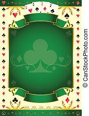 クラブ, pokergame, 緑の背景