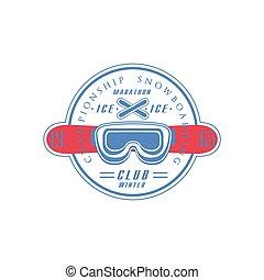 クラブ, snowboarding, 紋章, デザイン