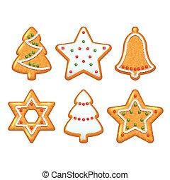 クリスマスのクッキー, ベクトル, セット