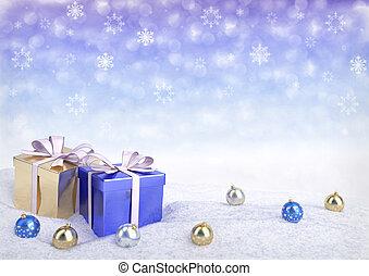 クリスマスの ギフト, 箱, そして, ボール, 上に, snow.3d, render