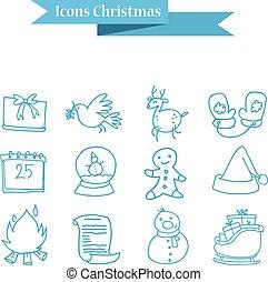 クリスマスの 休日, アイコン, セット, ベクトル