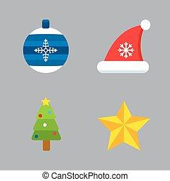 クリスマスの 休日, アイコン, set.