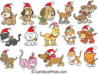 クリスマスの 休日, 犬, そして, ねこ, セット