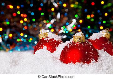 クリスマスの 休日, 装飾, ∥で∥, 白い雪, そして, 赤, ボール