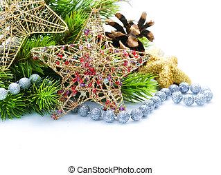 クリスマスの 装飾, ボーダー, デザイン, 隔離された, 白