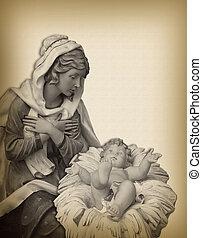 クリスマスのnativity, madonna