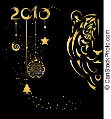 クリスマスカード, ∥で∥, 定型, tiger, シンボル, 年