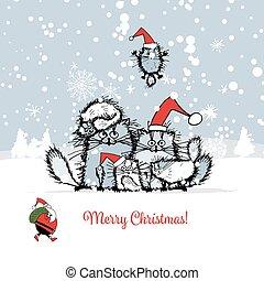 クリスマスカード, ∥で∥, 幸せ, ネコ, 家族