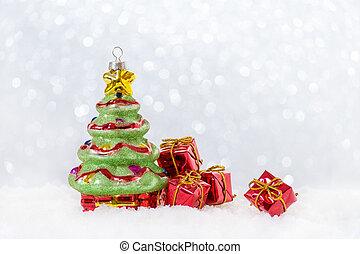 クリスマスカード, ∥で∥, 木, そして, 贈り物, 中に, 雪, bokeh
