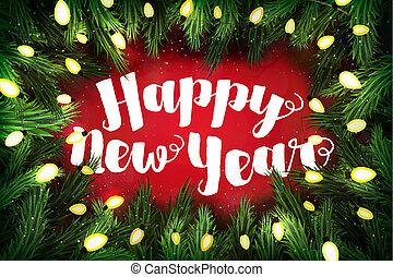 クリスマスカード, ∥で∥, 松, 花輪, そして, 休日, 挨拶, 上に, red., 新年おめでとう