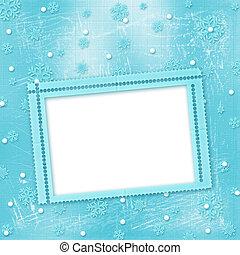 クリスマスカード, ∥で∥, 雪片, 上に, ∥, 冬, 背景