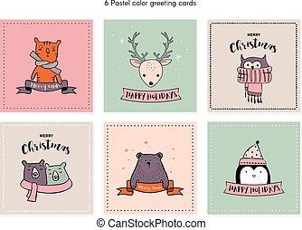 クリスマスカード, セット, ∥で∥, 冬, animals.