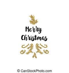 クリスマスカード, 白, 背景, ∥で∥, 金, 要素, そして, テキスト