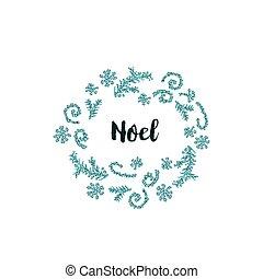 クリスマスカード, 白, 背景, ∥で∥, 青, 要素, そして, テキスト