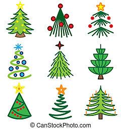 クリスマスツリー, アイコン, セット