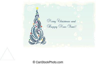 クリスマスツリー, カード, 招待, 花の意匠