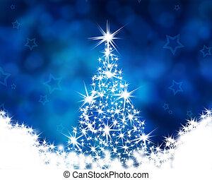 クリスマスツリー, 上に, ∥, 青い背景