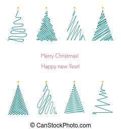 クリスマスツリー, set., 手, 図画, 線, グラフィック, 木。