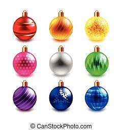 クリスマスボール, ベクトル, セット