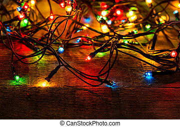 クリスマスライト, 上に, 木, 背景