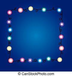 クリスマスライト, border., 休日, グリーティングカード, design., garland.
