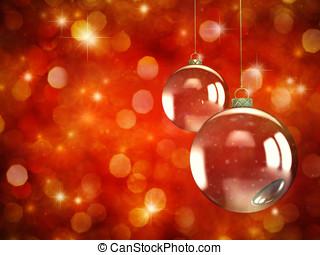 クリスマス安っぽい飾り, 上に, 赤, sparkly, 背景