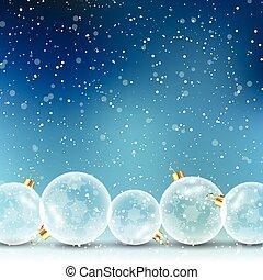クリスマス安っぽい飾り, 上に, 雪が多い, 背景, 1409