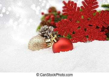 クリスマス安っぽい飾り, 中に, 雪