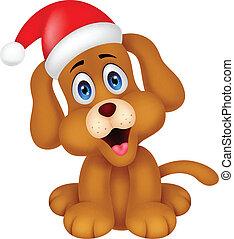 クリスマス帽子, 犬, 赤, 漫画