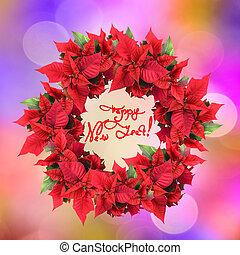 クリスマス花輪, から, ポインセチア, 上に, 色, ライト, 背景