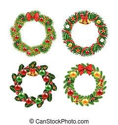 クリスマス花輪, ベクトル, セット