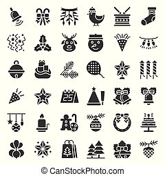 クリスマス装飾, アイコン, セット, 固体, glyphs, デザイン, 材料