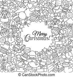 クリスマス, ∥あるいは∥, 着色, 印刷, テキスト, paper., ページ, 包むこと, 挨拶, クリスマス, 本, 理想, セット, 陽気, パターン, モノクローム, 休日, カード, templates.