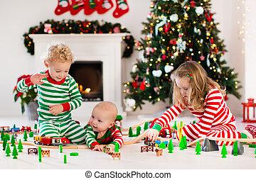 クリスマス, おもちゃ, 朝, 子供, 鉄道, 遊び