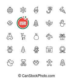 クリスマス, そして, 冬, ベクトル, イラスト, セット