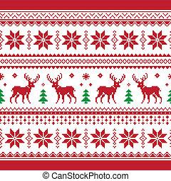 クリスマス, そして, 冬, 編まれる, seamle