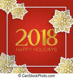 クリスマス と 新年, 金, 雪, グリーティングカード