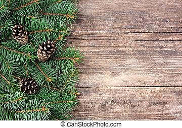 クリスマス, もみの 木, 上に, a, 木製である, 背景