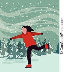 クリスマス, わずかしか, 現場, snowscape, スケート, 女の子