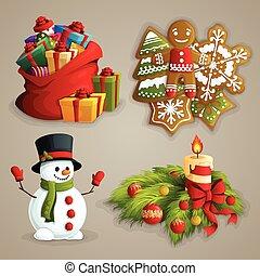 クリスマス, アイコン, セット