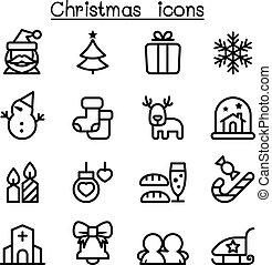 クリスマス, アイコン, セット, 中に, 薄いライン, スタイル