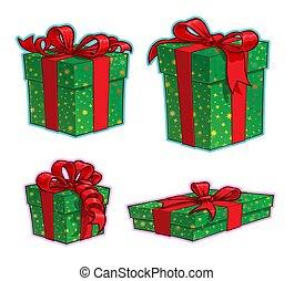クリスマス, アイコン, 箱, 漫画, プレゼント, 4, -, セット