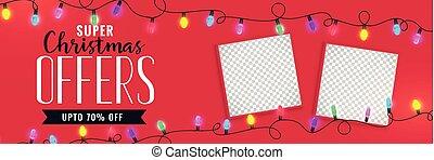 クリスマス, イメージ, 旗, セール, スペース
