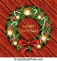 クリスマス, イラスト, 花輪, ベクトル