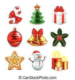 クリスマス, オブジェクト, ベクトル, セット