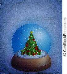 クリスマス, ガラス, 雪球, 上に, グランジ, 背景